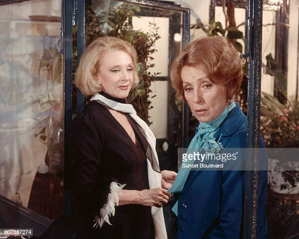 Danielle Darrieux and Micheline Presle on the set of the 1983 french film En Haut des Marches directed by Paul Vecchiali