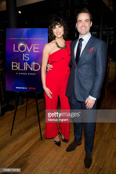Danielle Drouin and Rory Newbrough attend the Netflix's Love is Blind VIP viewing party at City Winery on February 27 2020 in Atlanta Georgia