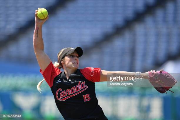 Danielle Elaine lawrie of Canada pitches against Netherlands during their Playoff Round at ZOZO Marine Stadium on day nine of the WBSC Women's...