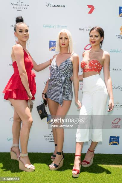 Danielle Evans Jasmin Bouwer and Codi Provan attend Magic Millions Raceday on January 13 2018 in Gold Coast Australia