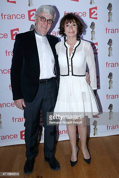 Danielle Evenou and her Companion attend the 27th 'Nuit Des Molieres' 2015 Held at Folies Bergere on April 27 2015 in Paris France