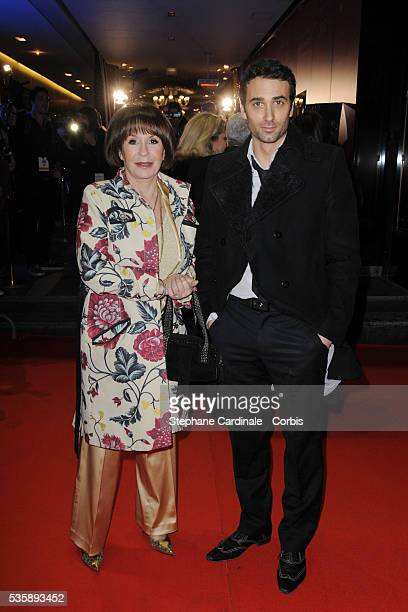 Danielle Evenou and his son Jean Baptiste Martin attend the Globes de Cristal 2010 Awards at Le Lido in Paris