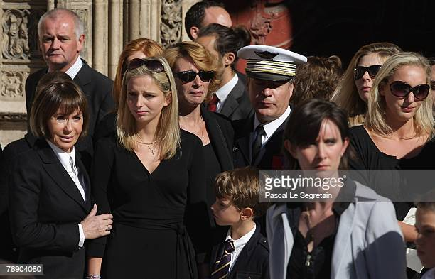 Danielle Evenou JeanneMarie Martin Clovis Martin and Judith Martin leave the Cathedral St Jean after the French TV star Jacques Martin's funeral on...