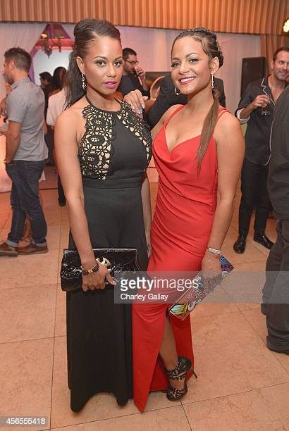 """Danielle Flores and actress Christina Milian attend Latina Magazine's """"Hollywood Hot List"""" Party at Sunset Tower on October 2, 2014 in West..."""
