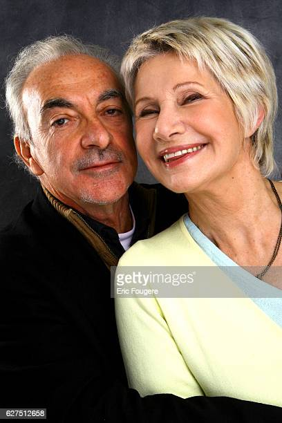 Danielle Gilbert and her husband Patrick Scemama on the set of TV show Les Grands du Rire