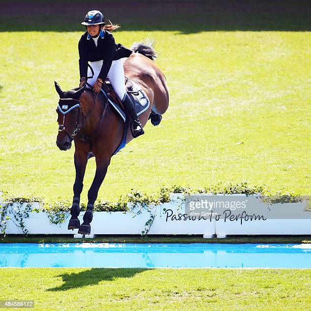 Danielle Goldstein of Israel competes on her horse Carisma during the MercedesBenz Prize Team Show Jumping competition on Day 9 of the FEI European...