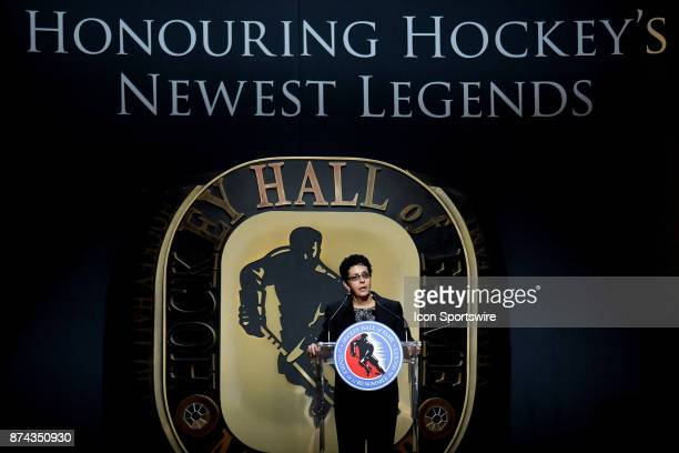 Danielle Goyette gives a speech during the 2017 Hockey Hall of Fame induction ceremony at Brookfield Place on November 13 2016 in Toronto ON Canada