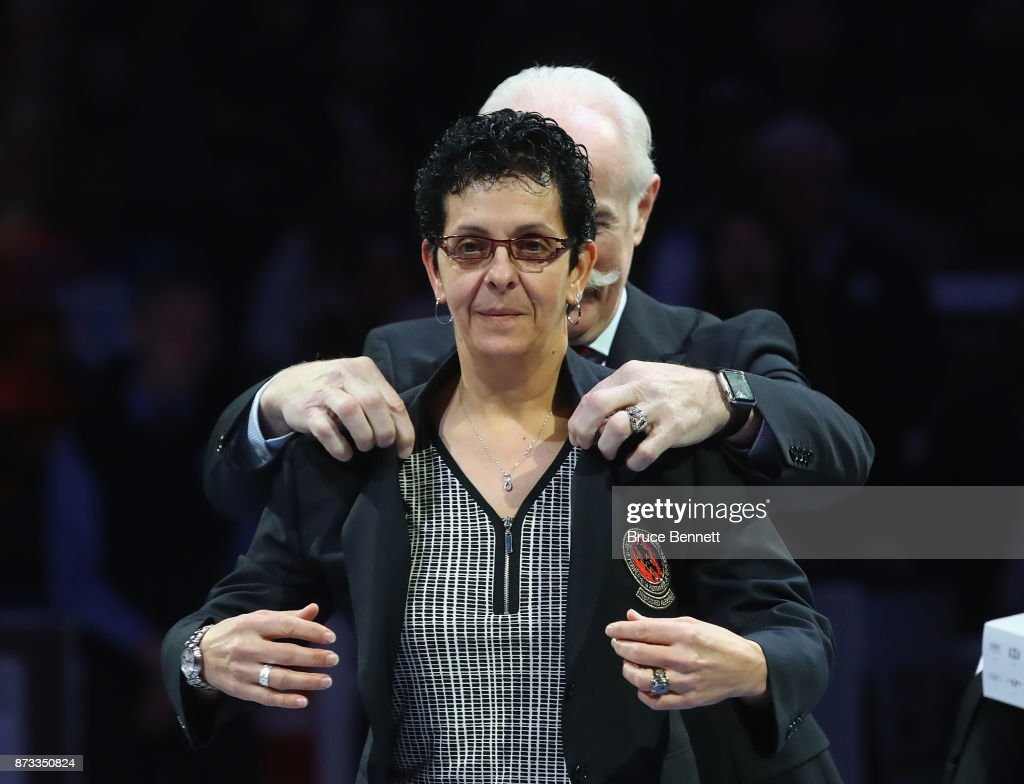 Danielle Goyette is honored for her induction into the Hall of Fame prior to the Legends Classic game at the Air Canada Centre on November 12, 2017 in Toronto, Canada.