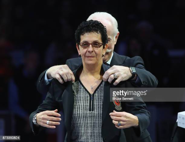 Danielle Goyette is honored for her induction into the Hall of Fame prior to the Legends Classic game at the Air Canada Centre on November 12 2017 in...
