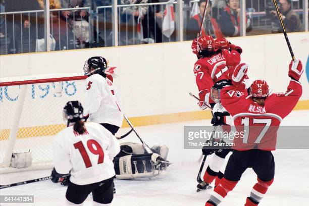 Danielle Goyette of Canada celebrates scoring a goal in the first period during the Women's Ice Hockey first round match between Japan and Canada...