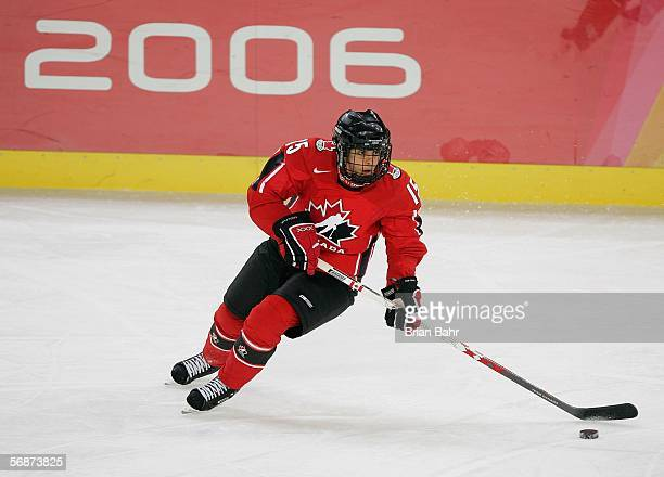 Danielle Goyette of Canada controls the puck during the women's ice hockey semifinals game against Finland on Day 7 of the Turin 2006 Winter Olympic...