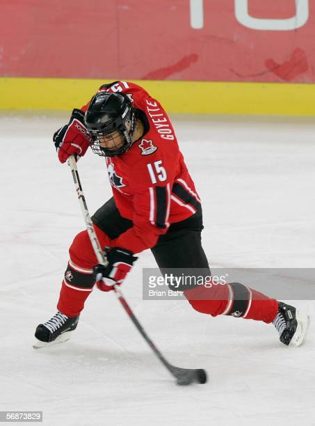 Danielle Goyette of Canada hits a slap shot during the women's ice hockey semifinals game against Finland on Day 7 of the Turin 2006 Winter Olympic...