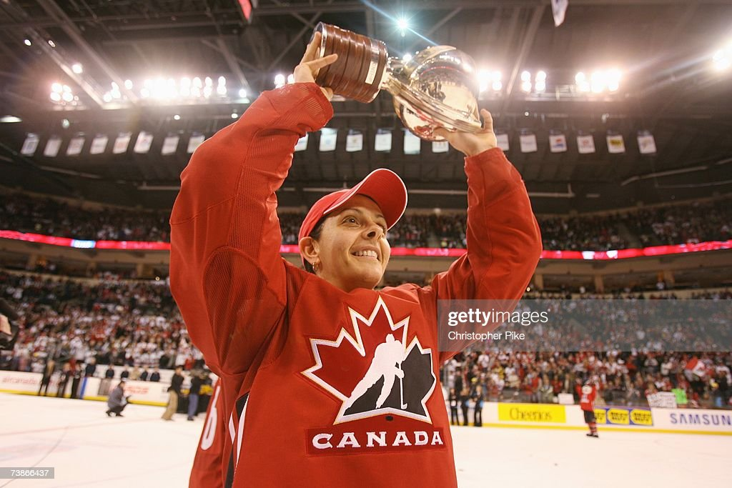 Danielle Goyette #15 of Canada raises the trophy after the victory against the USA in the IIHF Women's World Championship Gold Medal game on April 10, 2007 at MTS Centre in Winnipeg, Manitoba, Canada. Canada defeated the USA