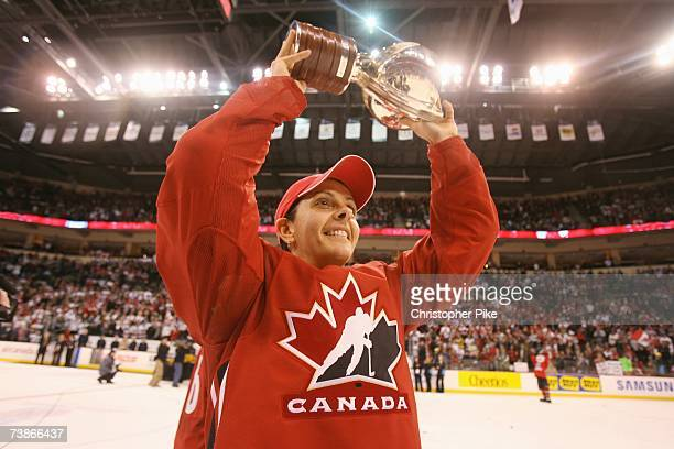 Danielle Goyette of Canada raises the trophy after the victory against the USA in the IIHF Women's World Championship Gold Medal game on April 10...
