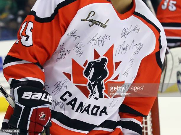 Danielle Goyette shows off the signatures of participants in the Legends Classic game at the Air Canada Centre on November 12 2017 in Toronto Canada