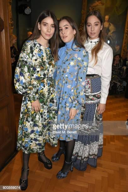 Danielle Haim Alana Haim and Este Haim attend the Erdem show during London Fashion Week February 2018 at National Portrait Gallery on February 19...