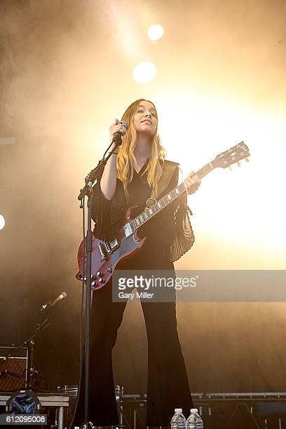 Danielle Haim of HAIM performs in concert during the Austin City Limits Music Festival at Zilker Park on October 02, 2016 in Austin, Texas.