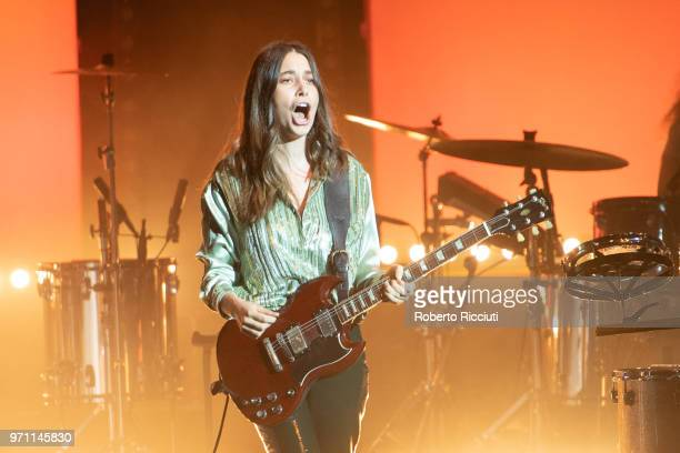 Danielle Haim of Haim performs live on stage at O2 Academy Glasgow on June 10 2018 in Glasgow Scotland