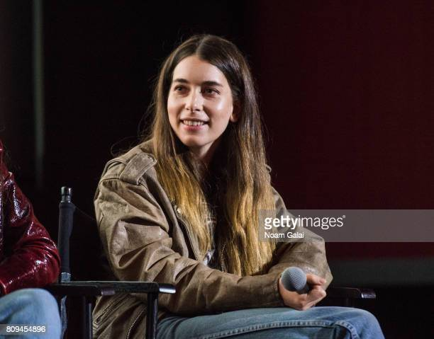 Danielle Haim of HAIM speaks during a pop up screening of Paul Thomas Anderson's 'Valentine' at Alamo Drafthouse Cinema on July 5 2017 in the...