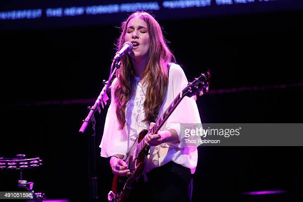 Danielle Haim of the band HAIM performs on stage during the HAIM Talks With Kelefa Sanneh during The New Yorker Festival 2015 at Gramercy Theatre on...