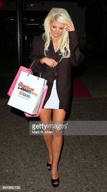 Danielle Harold departs the Inside Soap Awards on October 21 2013 in London England
