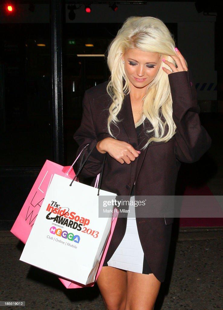 Danielle Harold leaving the Inside Soap Awards on October 21, 2013 in London, England.