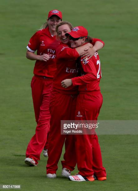 Danielle Hazel of Lancashire Thunder celebrates taking the wicket of Sophie Divine of Yorkshire Diamonds during the Kia Super League 2017 between...