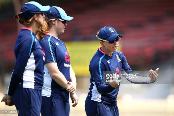 Danielle Hazell gestures to a team mate during an England women's Ashes series training session at North Sydney Oval on November 7 2017 in Sydney...