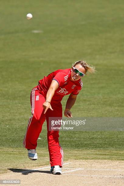 Danielle Hazell of England bowls during game 2 of the Australia v England Women's one day international series January 23 2014 in Melbourne Australia