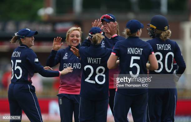 Danielle Hazell of England celebrates taking the wicket of Punham Raut of India during the ICC Women's World Cup match between England and India at...