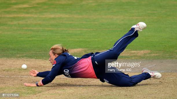 Danielle Hazell of England drops a catch during the ICC Women's World Cup 2017 match between England and Australia at The Brightside Ground on July 9...