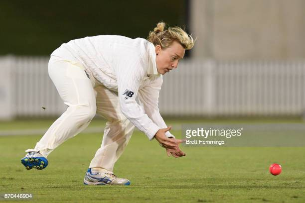 Danielle Hazell of England fields the ball during day three of the Women's Tour match between England and the Cricket Australia XI at Blacktown...