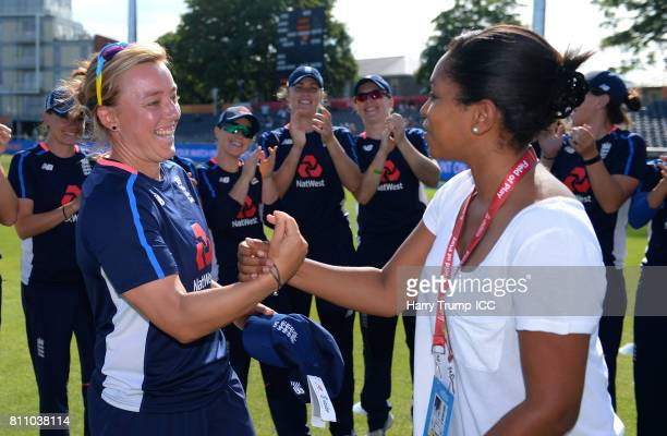 Danielle Hazell of England is presented with a cap by Ebony RainfordBrent to mark her 50th appearance during the ICC Women's World Cup 2017 match...