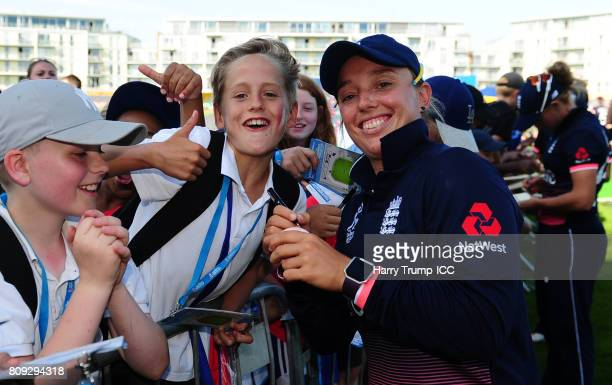Danielle Hazell of England poses with a fan during the ICC Women's World Cup 2017 match between England and South Africa at The County Ground on July...