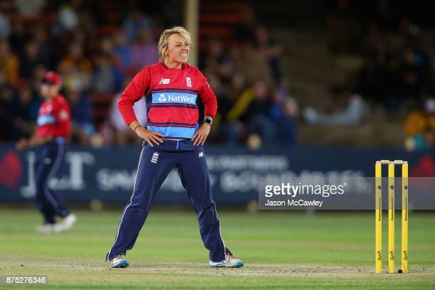 Danielle Hazell of England reacts during the first Women's Twenty20 match between Australia and England at North Sydney Oval on November 17 2017 in...