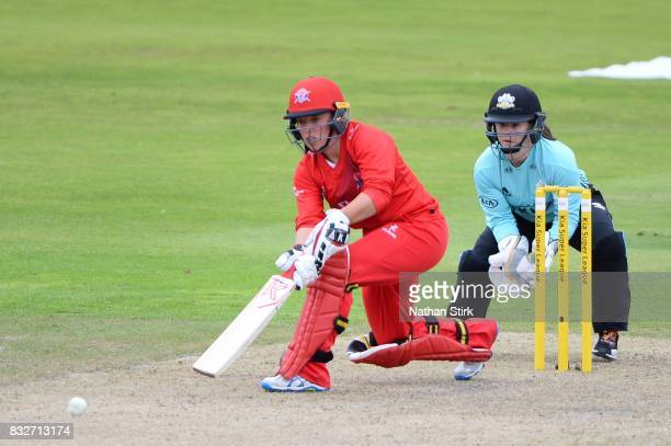 Danielle Hazell of Lancashire Thunder batting during the Kia Super League 2017 match between Lancashire Thunder and Surrey Stars at Old Trafford on...