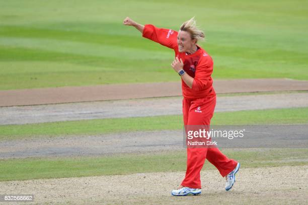Danielle Hazell of Lancashire Thunder celebrates during the Kia Super League 2017 match between Lancashire Thunder and Surrey Stars at Old Trafford...