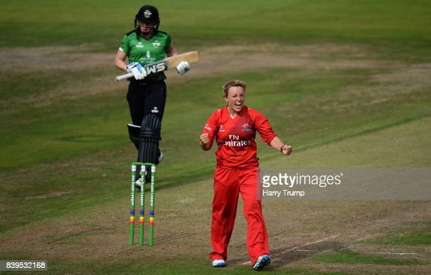 Danielle Hazell of Lancashire Thunder celebrates the wicket of Heather Knight of Western Storm during the Kia Super League 2017 match between Western...