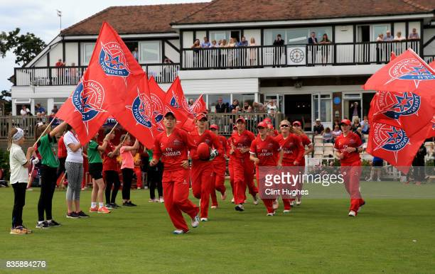 Danielle Hazell of Lancashire Thunder leads her team out onto the field during the Kia Super League match between Lancashire Thunder and Loughborough...