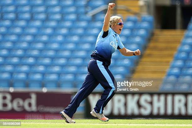 Danielle Hazell of Yorkshire celebrates the dismissal of Georgia Elwiss of Lougborough during the inaugural Kia Super League women's cricket match...
