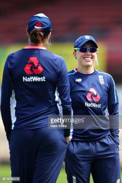 Danielle Hazell shares a laugh with a team mate during an England women's Ashes series training session at North Sydney Oval on November 7 2017 in...