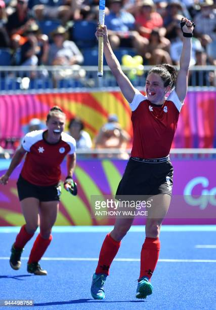 Danielle Hennig of Canada celebrates after scoring a goal during the women's field hockey match between Canada and Ghana at the 2018 Gold Coast...