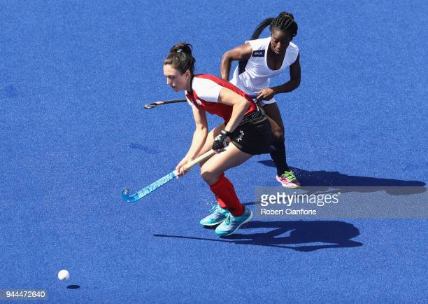 Danielle Hennig of Canada controls the ball during the Women's Hockey match between Canada and Ghana on day seven of the Gold Coast 2018 Commonwealth...