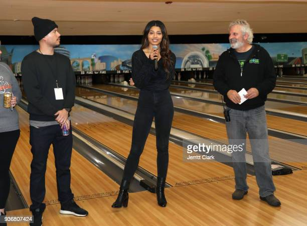 Danielle Herrington and A Place Called Homes Executive Director Jonathan Zeichner speak to guests at A Place Called Home's 12th Annual Stars Strikes...