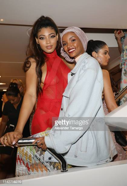 Danielle Herrington and Halima Aden attend the Sports Illustrated Swimsuit 2019 Issue Launch at Seaspice on May 10 2019 in Miami Florida