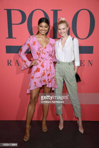 Danielle Herrington attends the Polo Red Rush Launch Party with Ansel Elgort at Classic Car Club Manhattan on July 25 2018 in New York City