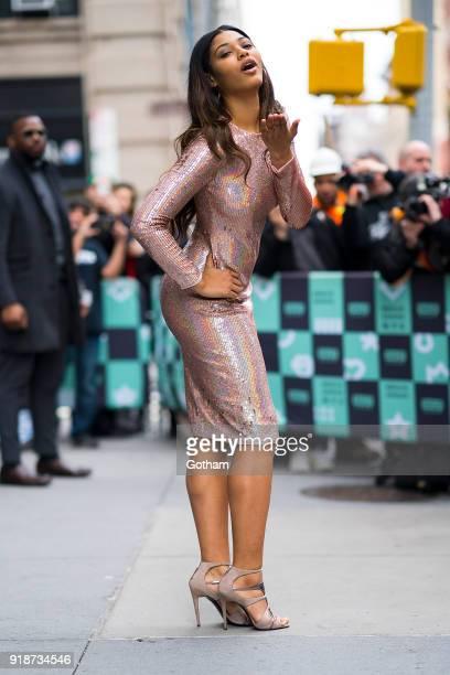 Danielle Herrington is seen in NoHo on February 15 2018 in New York City