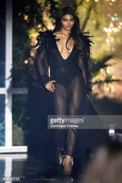 Danielle Herrington wearing Alberta Ferretti walks the runway at the amfAR Gala Cannes 2018 at Hotel du CapEdenRoc on May 17 2018 in Cap d'Antibes...