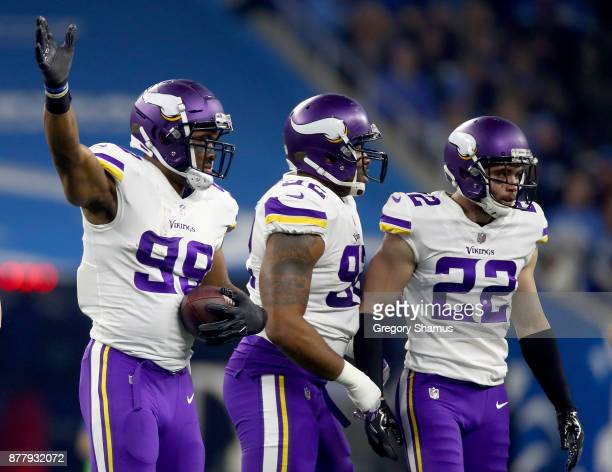 Danielle Hunter of the Minnesota Vikings celebrates after he recovers a fumble by quarterback Matthew Stafford of the Detroit Lions during the first...