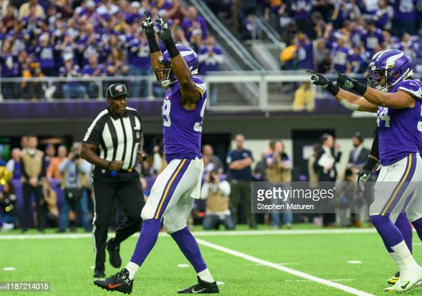 Danielle Hunter of the Minnesota Vikings celebrates after sacking David Blough of the Detroit Lions in the first quarter of the game at US Bank...
